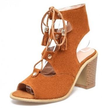 Sandales aspect daim, miel, talons épais 7 cm, lacets, Danika