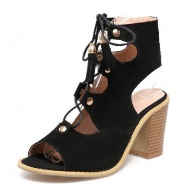 Sandales aspect daim, noires, talons épais 7 cm, lacets, Danika
