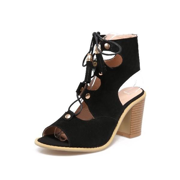 choisir le plus récent  bonne vente Sandales aspect daim, noires, talons épais 7 cm, lacets, Danika - PETITS  SOULIERS
