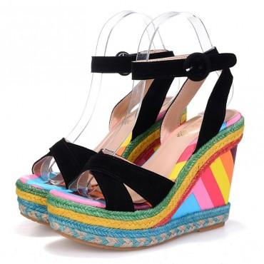 Sandales à talons compensés, multicolores, aspect cuir imprimé, Filipa