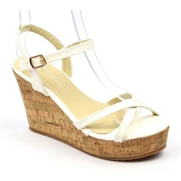 Sandales vernies, blanches, talons compensés aspect liège léger, Namira