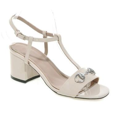 Sandales vernies, beiges, talons carrés, 7 cm, Suzel, femmes petites pointures