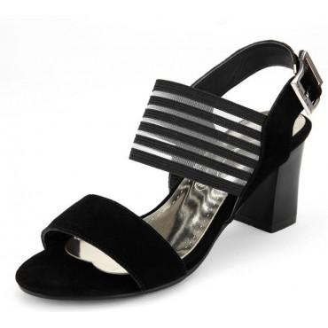 Sandales aspect daim, talons carrés, 7 cm, Féria