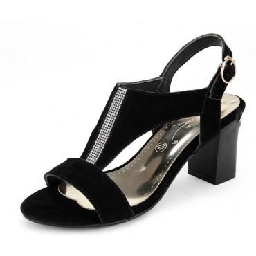 Sandales aspect daim, strass, talons carrés, 7 cm, Pazianie, femmes petites pointures