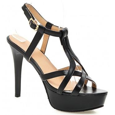 Sandales, très hauts talons, noires, aspect cuir mate, Janika