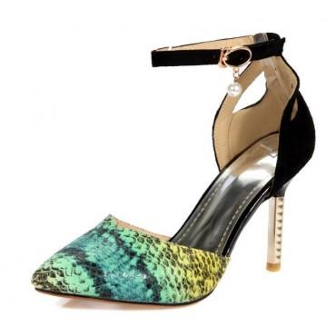 Escarpins, hauts talons, aspect daim noire et bouts python vert, 9 cm, petites pointures, Lisbeth