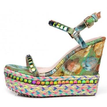 Sandales multicolores, cuir, talons compensés, Bohémia, femmes, petites pointures