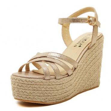 Sandales compensées, satin or, femmes petites pointures, Marcy