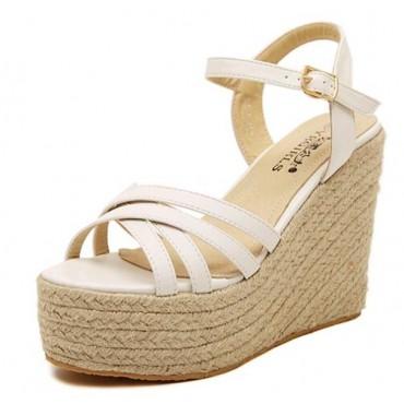 Sandales compensées, satin blanc, femmes petites pointures, Marcy