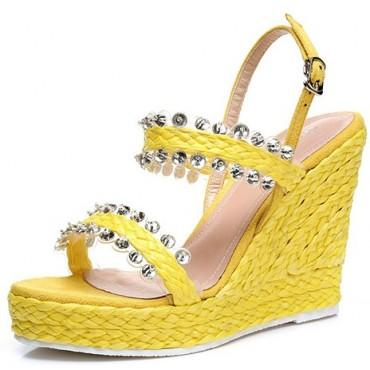 Sandales compensées, jaunes, femmes petites pointures, Irena