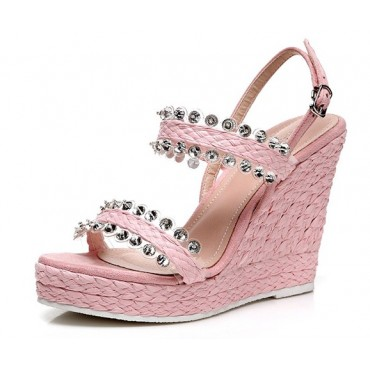 Sandales compensées, roses, femmes petites pointures, Irena