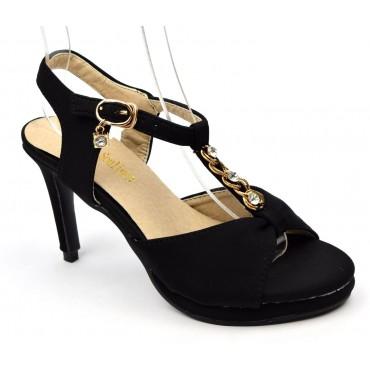 Sandales, aspect satin, noires, perles, femmes petites pointures, Dorina