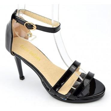 Sandales, vernies, noires, talons 8 cm, plateau 1 cm, femmes, petites pointures, Nouria