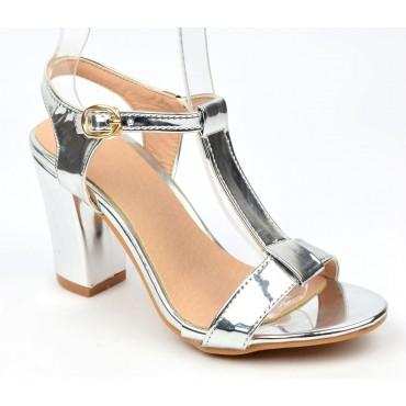 Sandales, argent métallisées, talons épais 8 cm, femmes petites pointures, Sorina