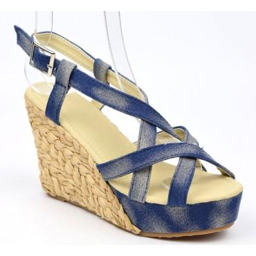 Sandales compensés, jean délavé, femmes, petites pointures, Hipa