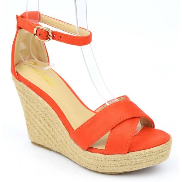 Sandales compensées aspect daim, oranges, Maisie, femmes petites pointures. PETITS SOULIERS