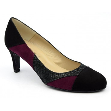 Escarpins cuir daim, noires et bordeaux, Brenda Zaro, femmes petites pointures, Tango, F1708