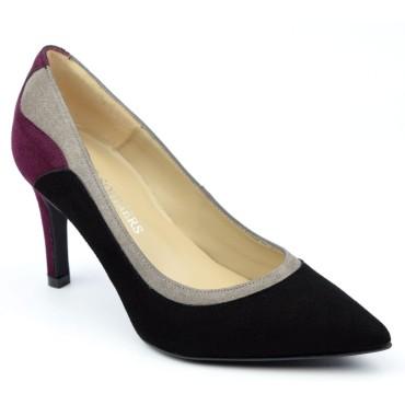 Escarpins cuir daim tri-colores gris - noire - bordeaux, Brenda Zaro, femmes petites pointures, Capuera, F1624