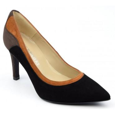 Escarpins cuir daim tri-colores marron - noire - miel, Brenda Zaro, femmes petites pointures, Capuera, F1624