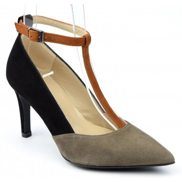 Escarpins cuir daim à brides tri-colores noire - taupe - miel, Brenda Zaro, femmes petites pointures, Calypso, F1684