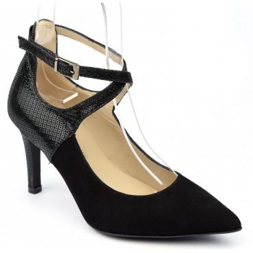 Escarpins cuir daim noires, brides croisées, Brenda Zaro, femmes petites pointures, Bosa-Nova, F1682