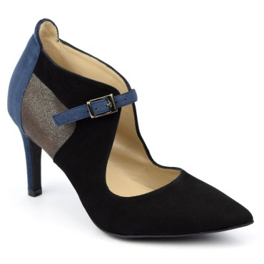 Escarpins cuir daim, bleus, Brenda Zaro, femmes petites pointures, Hard-Rock, F1683