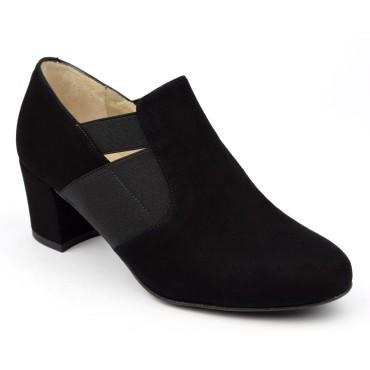 Bottines, low boots, cuir daim, noires, Brenda Zaro, femmes petites pointures, Baggy, F1788