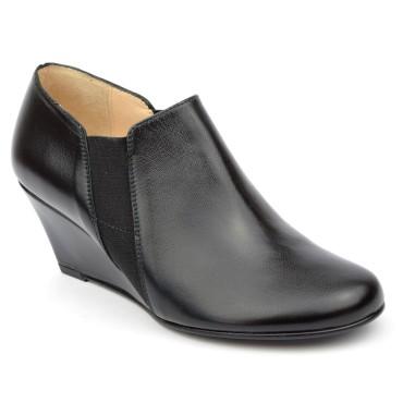 Bottines, low boots, compensées, cuir mate, noires, femmes petites pointures, Yves de Beaumond, Chester, MI-411