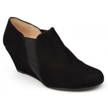 Bottines, low boots, compensées, cuir daim, noires, femmes petites pointures, Yves de Beaumond, Chester, MI-411