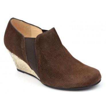 Bottines, low boots, compensées, cuir daim, marrons, femmes petites pointures, Yves de Beaumond, Chester, MI-411