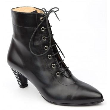 Bottines, lacets, cuir mate, noires, Yves de Beaumond, femmes petites pointures, Nottingham, MI-210