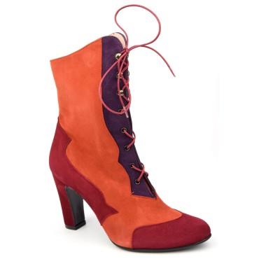 Bottines, lacets, cuir daim, tricolores rouge-orange-violet, Yves de Beaumond, femmes petites pointures, Oxford, MI-416