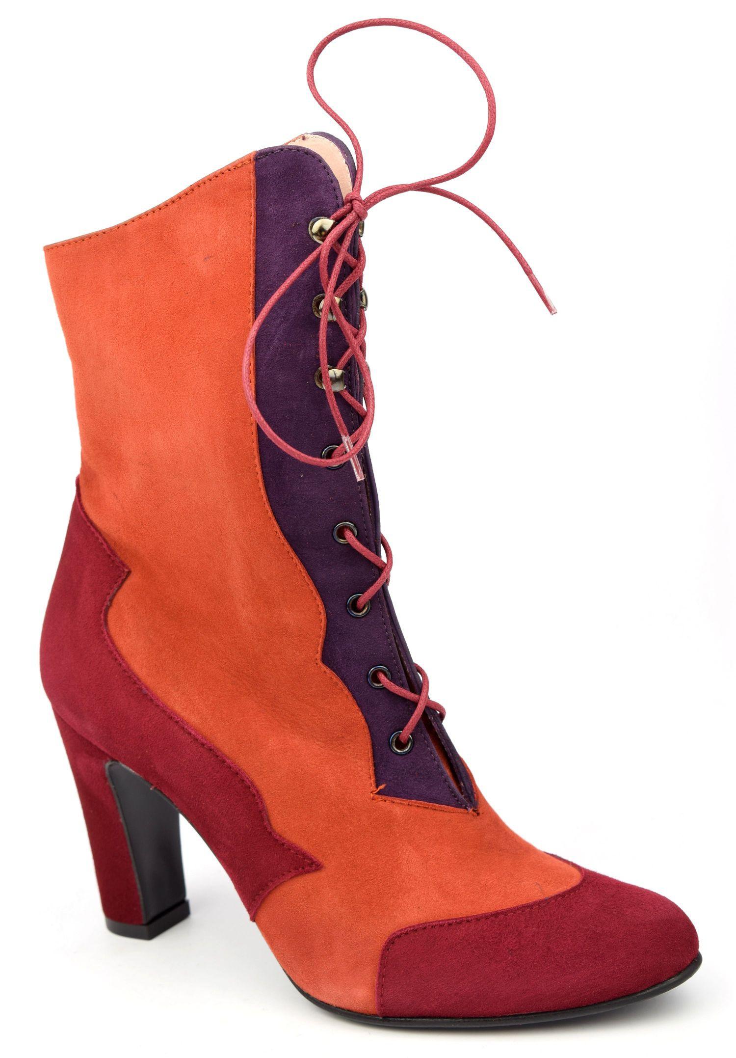 Bottines, lacets, cuir daim, tricolores rouge,orange,violet, Yves de  Beaumond, femmes petites pointures, Oxford, MI,416 , PETITS SOULIERS