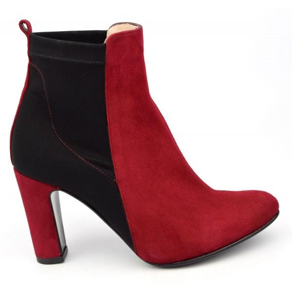 Bottines, cuir daim, bicolores noire-rouge, Yves de Beaumond, femme petite pointure, London, MI-211