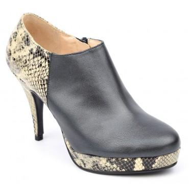Bottines, low boots, plateforme, cuir mate,noires, Yves de Beaumond, femmes petites pointures, York, 330-12