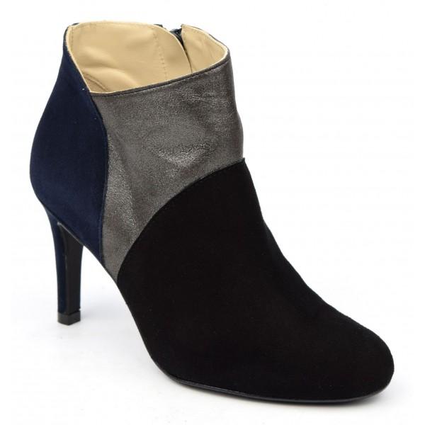 Bottines , cuir daim, tricolores noires gris bleu marine, Brenda Zaro, femmes petites pointures, Crunk, F1704