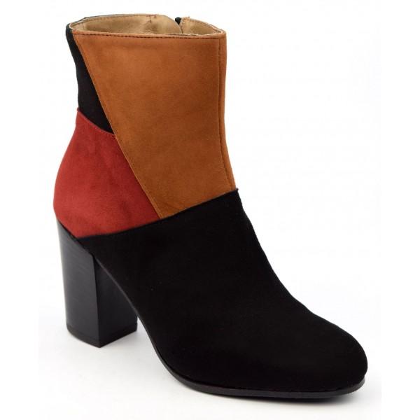 Bottines , cuir daim, tricolores noire - rouge - miel, Brenda Zaro, femmes petites pointures, Groove, FV1803
