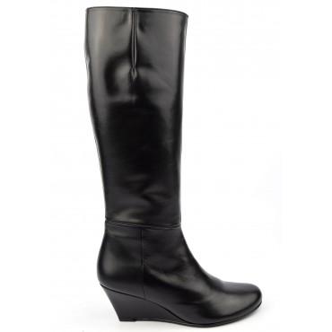 Bottes compensées, cuir mate, noires, femmes petites pointures, Yves de Beaumond, Salford, 7599