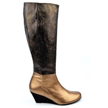 Bottes compensées, cuir mate, or, femmes petites pointures, Yves de Beaumond, Salford, 7599