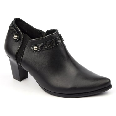 Bottines low boots, cuir mate noires, talon 6 cm, J.Metayer, Faocal, femmes petites pointures