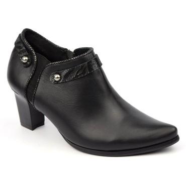 Bottines low boots, cuir mate noires, talon, J.Metayer, Faocal, femmes petites pointures