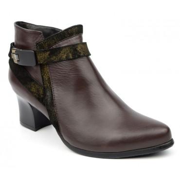 Bottines low boots, cuir mate, marron fonçé, talon 5,5 cm, J.Metayer, Meabon, femmes petites pointures