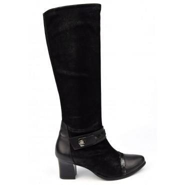Bottes Cuir, Daim tané souple, Metayer, noires, talon 5,5 cm, Meabut, femmes petites pointures