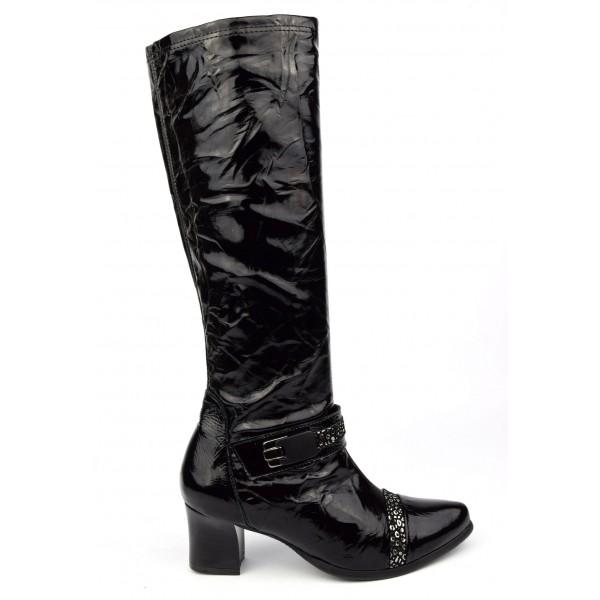Bottes cuir verni souple, Metayer, noires, talon 5,5 cm, Meabut, femmes petites pointures