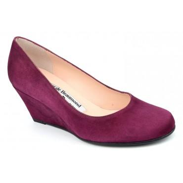 Chaussures compensées cuir daim, bordeaux Yves de Beaumond, petites pointures, Thaïs, 4079