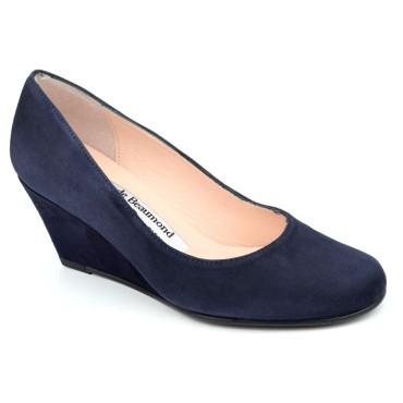 Chaussures compensées cuir daim, bleu marine, Yves de Beaumond, petites pointures, Thaïs, 4079