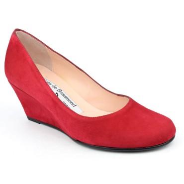 Chaussures compensées cuir daim, rouges, Yves de Beaumond, petites pointures, Thaïs, 4079