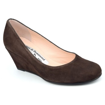 Chaussures compensées cuir daim, marrons, Yves de Beaumond, petites pointures, Thaïs, 4079