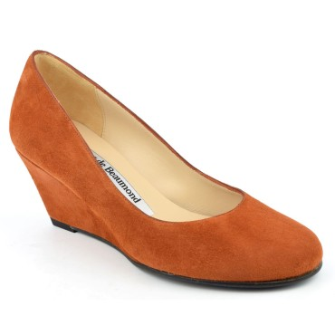Chaussures compensées cuir daim, miel, Yves de Beaumond, petites pointures, Thaïs, 4179