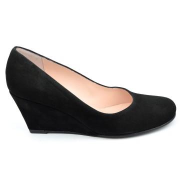 Chaussures compensées cuir daim, noires, Maria Jamy, petites pointures, 4179